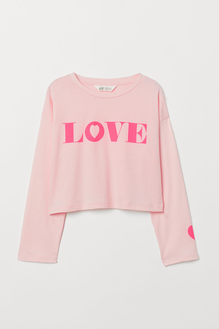Printed top - Light pink/Love - Kids | H&M IE