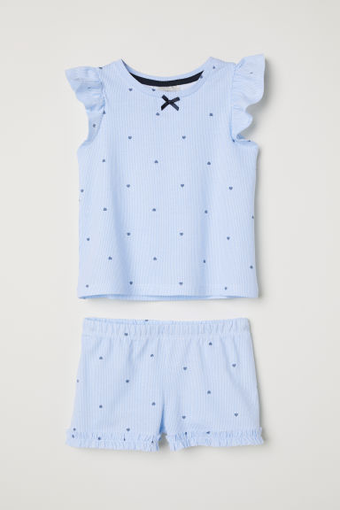 Jersey pyjamas - Light blue/Patterned -  | H&M CN