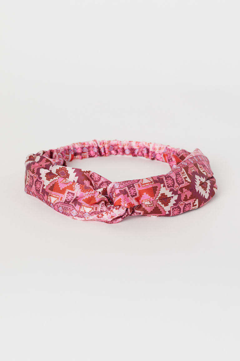 Hairband with a knot detail - Pink/Patterned - Ladies | H&M IE