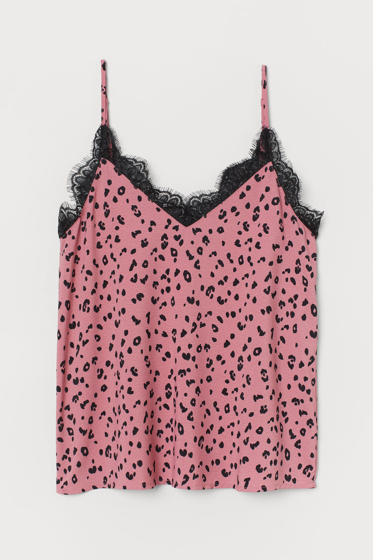 Camisole Top with Lace - Pink/leopard print - Ladies | H&M US