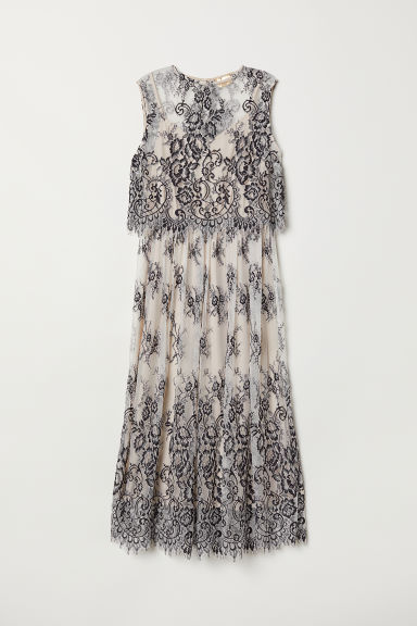 Sleeveless lace dress - Beige/Black patterned - Ladies | H&M CN