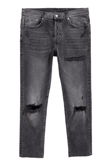 Cropped Relaxed Skinny Jeans - 黑色/水洗 - Men | H&M