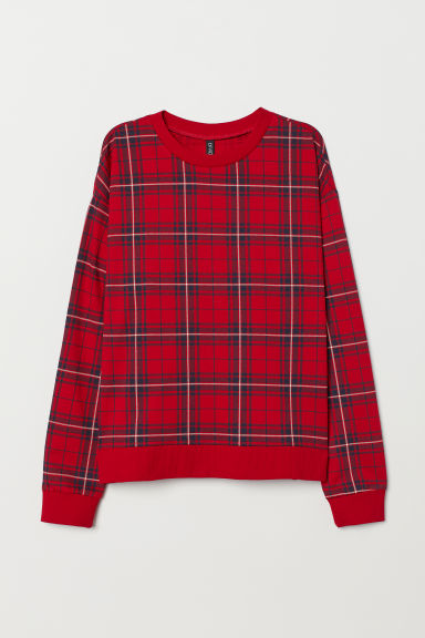 Printed sweatshirt - Red/Checked -  | H&M