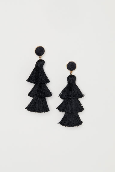Tasselled earrings - Black -  | H&M