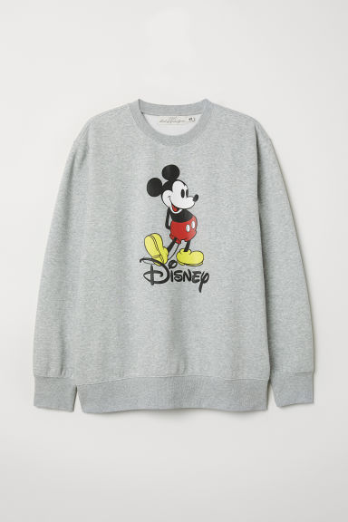 Sweatshirt with a motif - Light grey marl/Mickey Mouse - Men | H&M