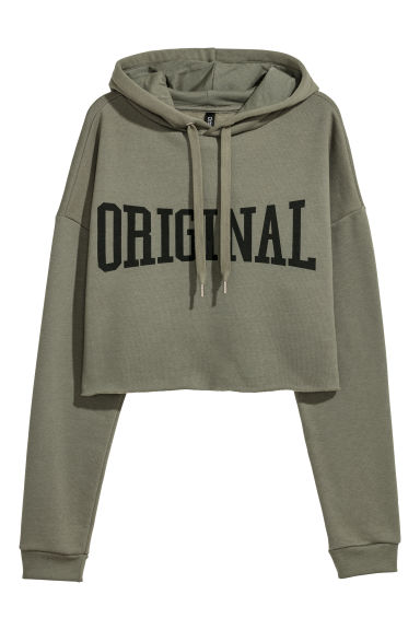Short hooded top - Khaki green -  | H&M CN
