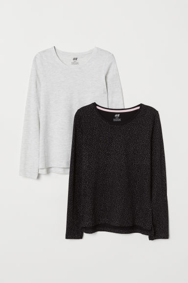 2-pack jersey tops - Black/Spotted - Kids | H&M