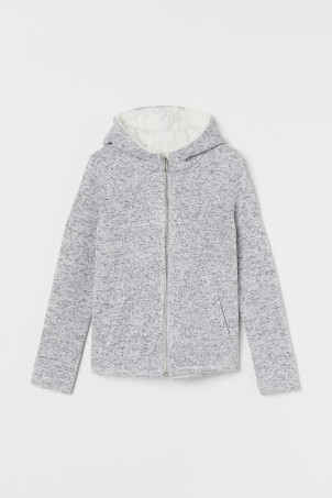 Pile-lined hooded jacket