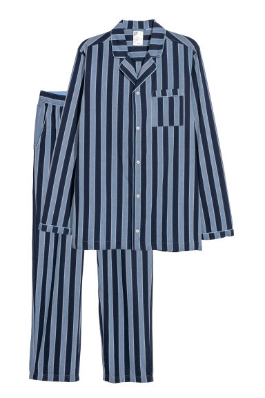 Pyjama shirt and bottoms - Light blue/Striped -  | H&M CN