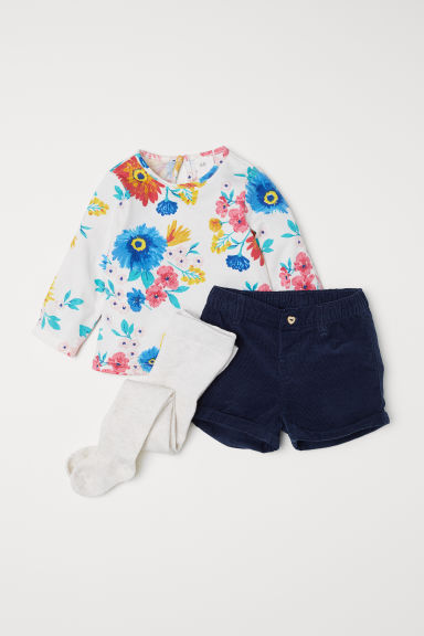 3-piece set - Natural white/Flowers - Kids | H&M