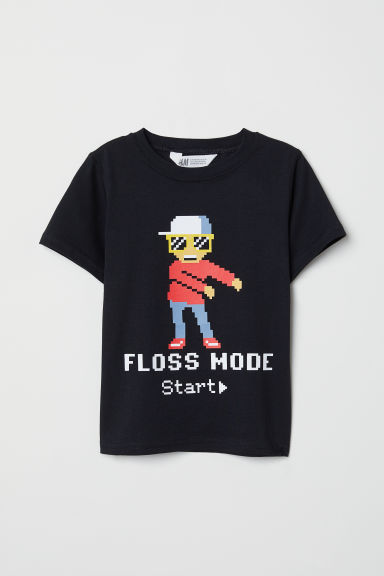 Printed T-shirt - Black - Kids | H&M CN