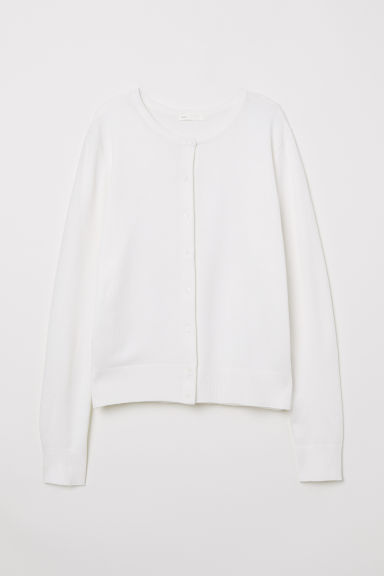 Fine-knit Cardigan - Natural white - Ladies | H&M US