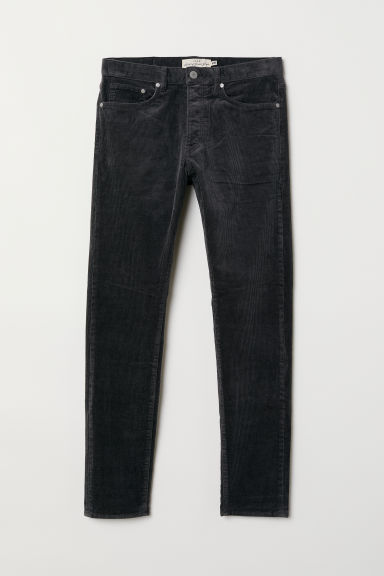 Slim Straight cord trousers - Dark grey - Men | H&M GB