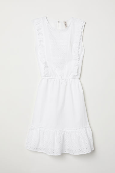 Dress with broderie anglaise - White - Ladies | H&M CN