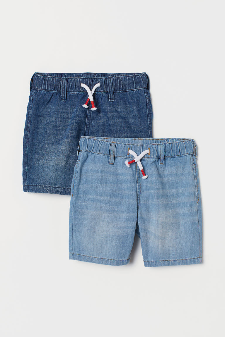 2-pack denim shorts - Dk. denim blue/Lt. denim blue - Kids | H&M