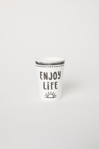 Set van 10 kartonnen bekertjes - Wit/Enjoy Life -  | H&M BE
