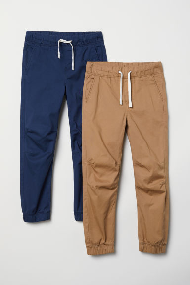 2-pack pull-on trousers - Dark blue/Dark beige - Kids | H&M