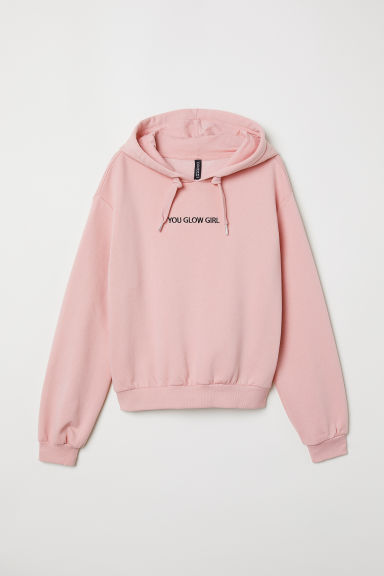 Printed hooded top - Light pink/You Glow Girl -  | H&M