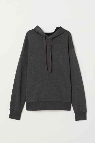 Hooded top - Dark grey marl - Ladies | H&M