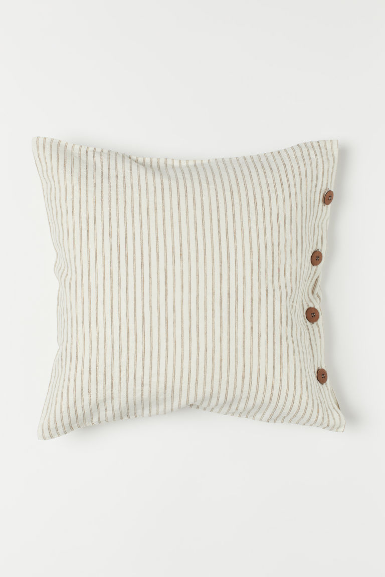 Washed linen cushion cover - White/Beige striped - Home All | H&M GB