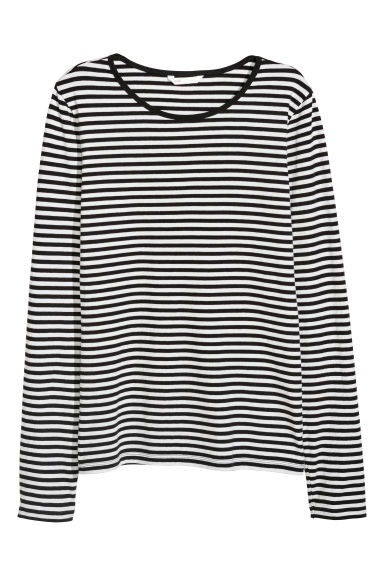 Long-sleeved jersey top - Black/White striped - Ladies | H&M