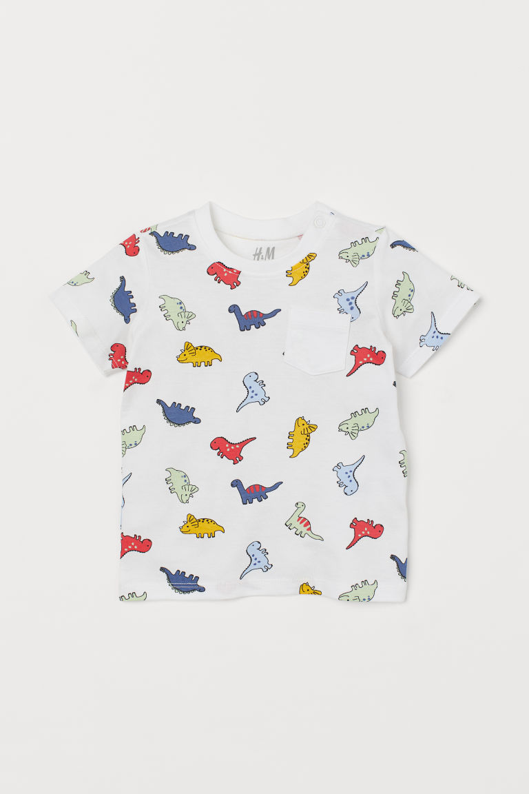 Cotton T-shirt - White/Dinosaurs - Kids | H&M CN