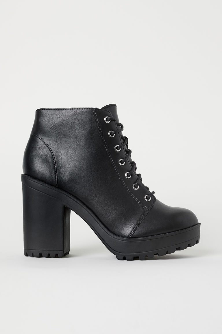 Platform ankle boots - Black/Imitation leather -  | H&M