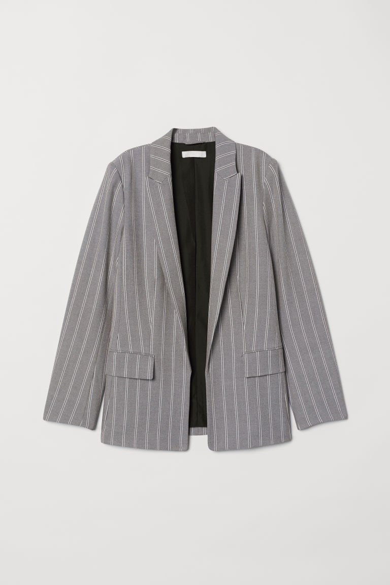 Straight-cut Blazer - Gray/striped - Ladies | H&M CA