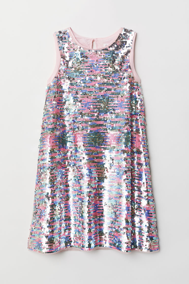 Sequined dress - Light pink -  | H&M