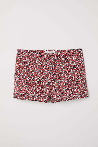 Cotton shorts - Red/Floral - Ladies | H&M CN
