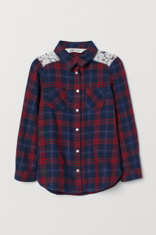 Flannel shirt with a lace yoke