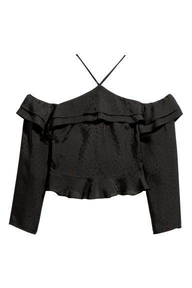 Off-the-shoulder top - Black/Patterned -  | H&M