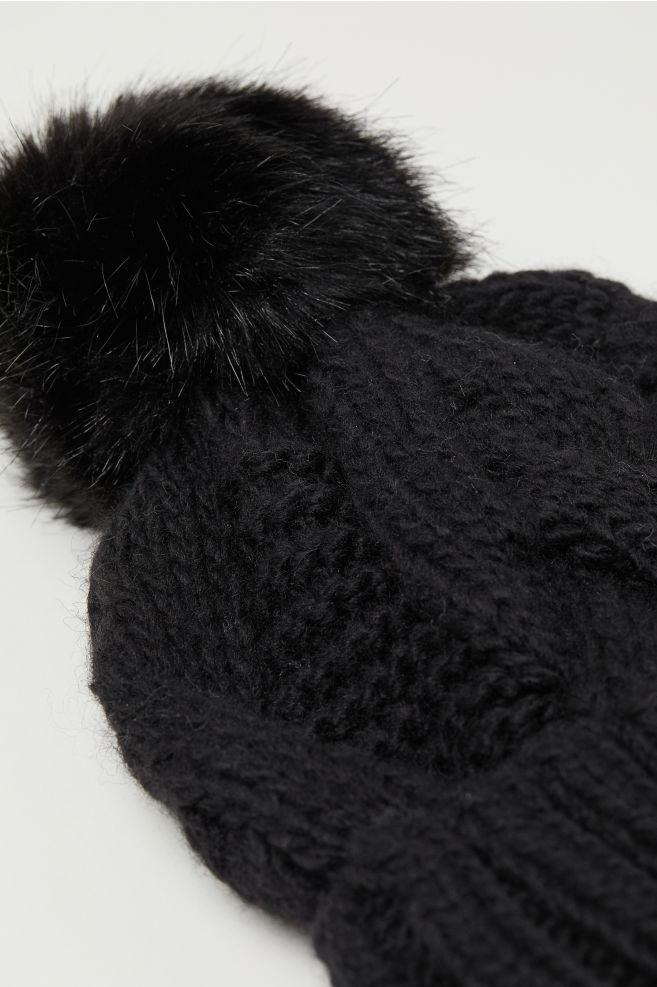 28d9f6655f6 Cable-knit Hat - Black - Ladies