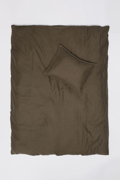 Washed linen duvet cover set - Khaki green - Home All | H&M GB