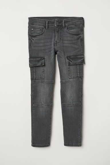 Skinny Fit Cargo Jeans - Dark grey denim - Kids | H&M