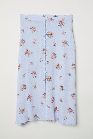 Buttoned skirt - Light blue/Floral - Ladies | H&M CN
