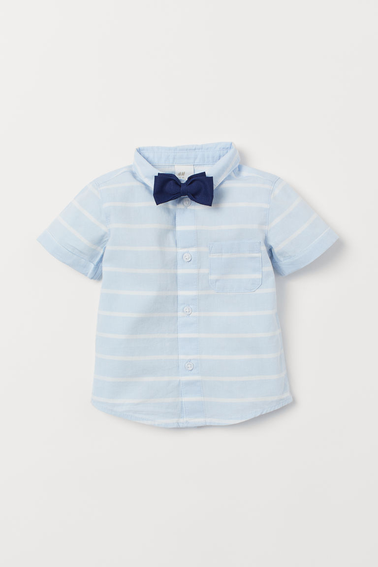 Shirt and bow tie - Light blue/Striped - Kids | H&M