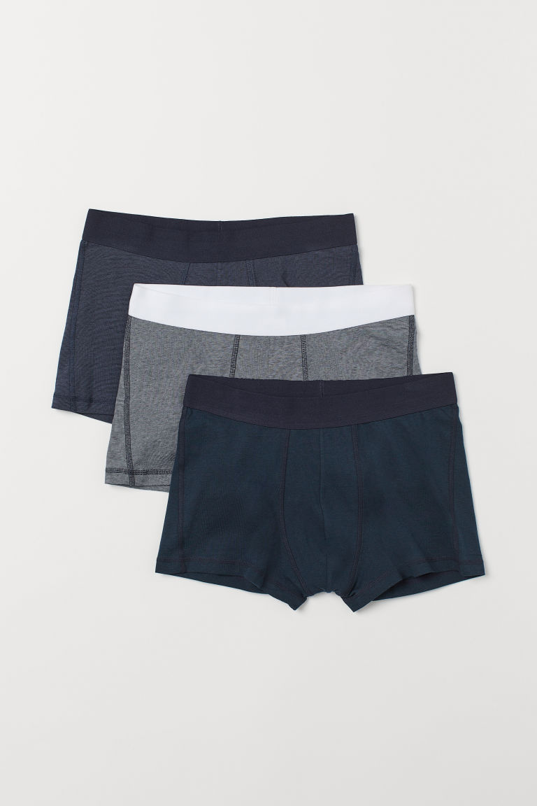 3-pack short trunks - Dark green/Narrow striped - Men | H&M