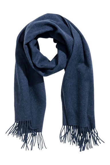 Wool scarf - Dark blue marl - Men | H&M