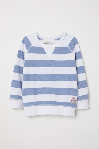 Cotton piqué top - Blue/White striped - Kids | H&M