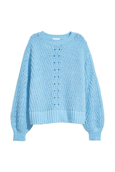 Knitted chenille jumper - Light blue -  | H&M GB