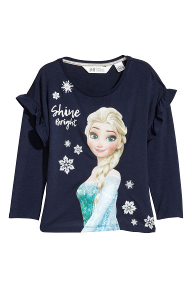 Printed jersey top - Dark blue/Frozen -  | H&M CN