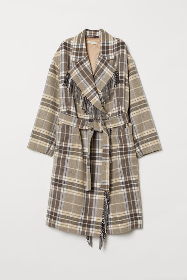 Cappotto con cintura - Beige/marrone quadri - DONNA | H&M IT
