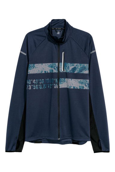 Running jacket - Dark blue/Patterned - Men | H&M