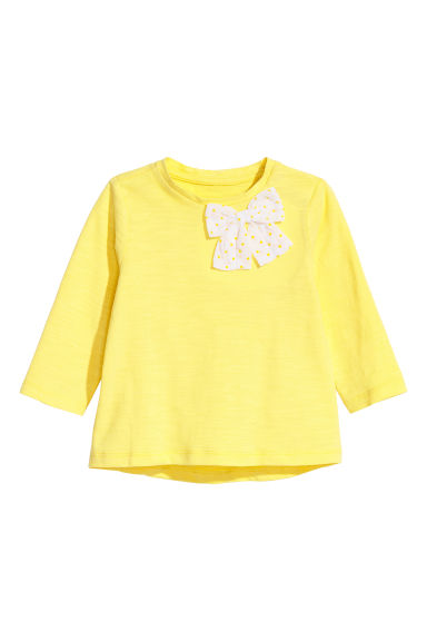 Jersey top with a bow - Light yellow -  | H&M CN