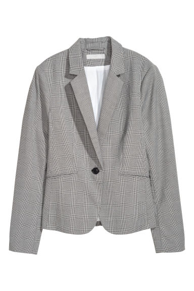 Fitted Jacket - Light gray/checked - Ladies | H&M CA