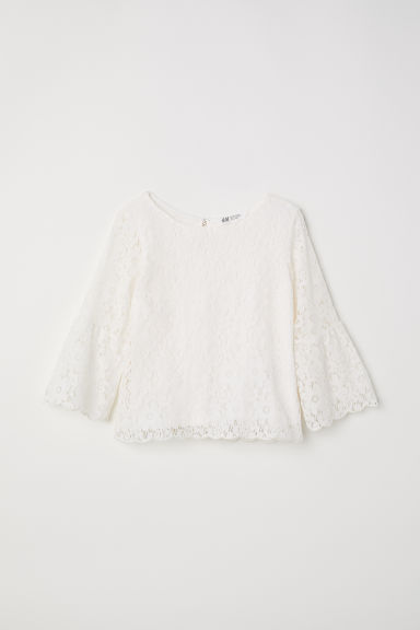 Trumpet-sleeved lace blouse - Natural white - Kids | H&M CN