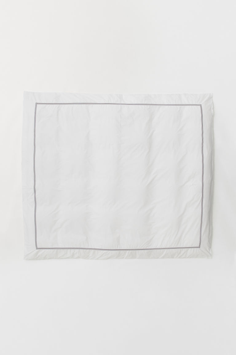 Cotton Percale Duvet Cover - White/dark gray - Home All | H&M CA