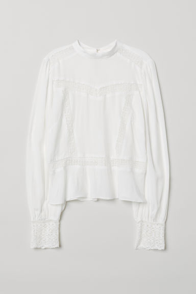 Blouse with Lace - White - Ladies | H&M US