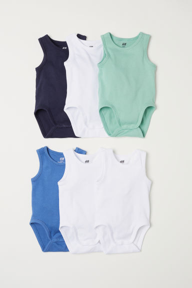 6-pack sleeveless bodysuits - Dark blue - Kids | H&M